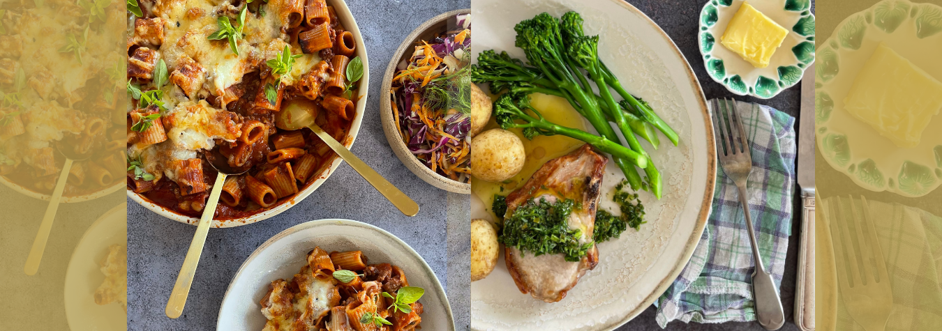 Our latest delicious dinner recipes from Lilly Higgins and Orla Walsh: Rigatoni Pasta Bake & Chimichurri Pork Chops.